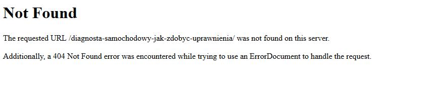 Serwerowy błąd 404 not found
