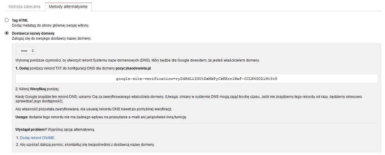 weryfikacja dns i aftermarket - google webmaster tools